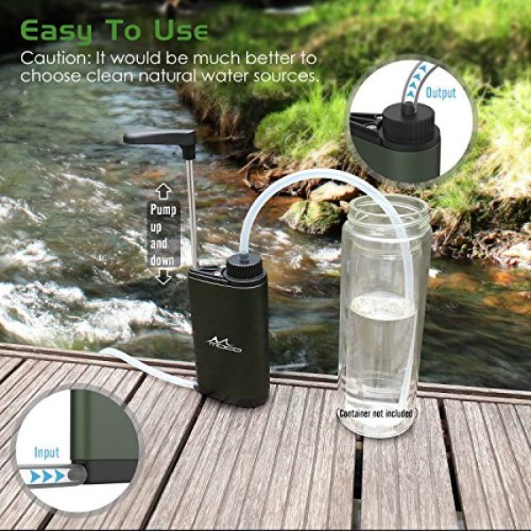MoKo Survival Water Filter 3 MoKo Portable Water Filter, Emergency Personal Camping Water Purifier, with Internal Carbon and Ultra Filter Assembly, 0.01 Micron Absolute Hollow Fiber Membrane, BPA Free, Matte Finish Army Green