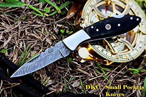 "DKC Knives  2 DKC Knives DKC-58 Little Jay Series Knives Damascus Folding Pocket Knife 4"" Folded 7"" Long 4.7oz oz High Class Looks Hand Made LJ-Series"