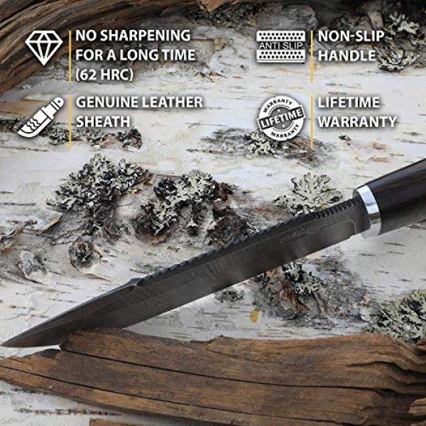 Nazarov Knives Fixed Blade Survival Knife 3 Fixed Blade Knife with Sheath - Survival Knife - Real Damascus - Wenge Wood - TAIGA - Leather Sheath