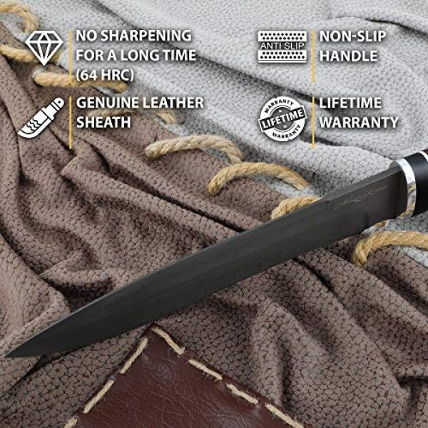 Nazarov Knives Fixed Blade Survival Knife 3 Hunting Knife - Drop Point Knife - D2 - Wenge Wood - RUSSIAN BEAR - Leather Sheath