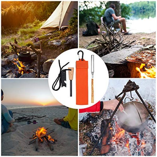 Lixada Survival Fire Starter 7 Lixada Emergency Survival Fire Starter Kit with Thick Magnesium Rod, Collapsible Fire Bellow Blower Pipe,Scraper,Rope,Carabiner,Twig and Carry Bag