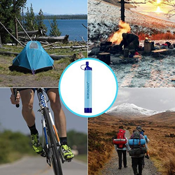 SUPOLOGY Survival Water Filter 7 SUPOLOGY Water Filter, Personal Survival Straw Water Purifier for Outdoor Emergency, Adventure, Camping, Hiking, Backpacking, Travel, Survival kit