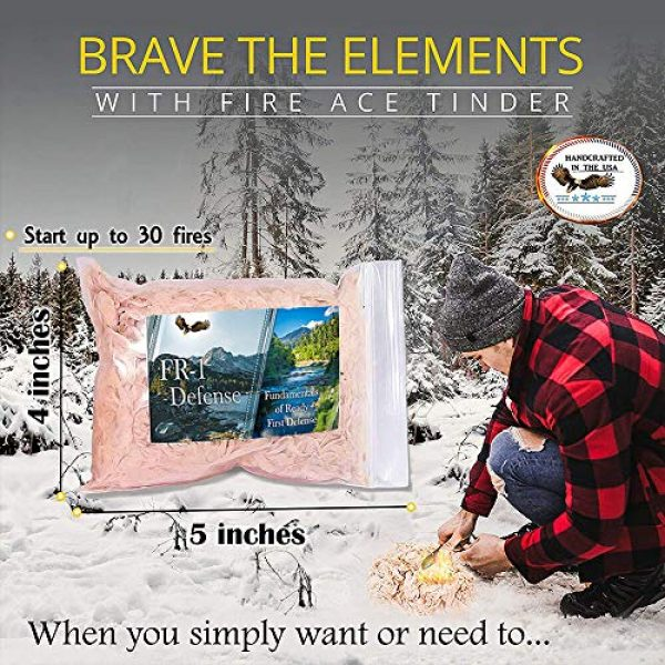 FR1 Defense Survival Fire Starter 5 Fire Ace Tinder. Fire Starting Tinder with Survival Guide Bonus!! Great for Camping Gear, Backpacking Accessories. Reliable Fire Tinder