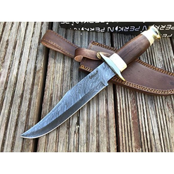 Perkin Fixed Blade Survival Knife 3 Perkin Knives - Damascus Steel Hunting Knife - Bowie Fixed Blade Knives