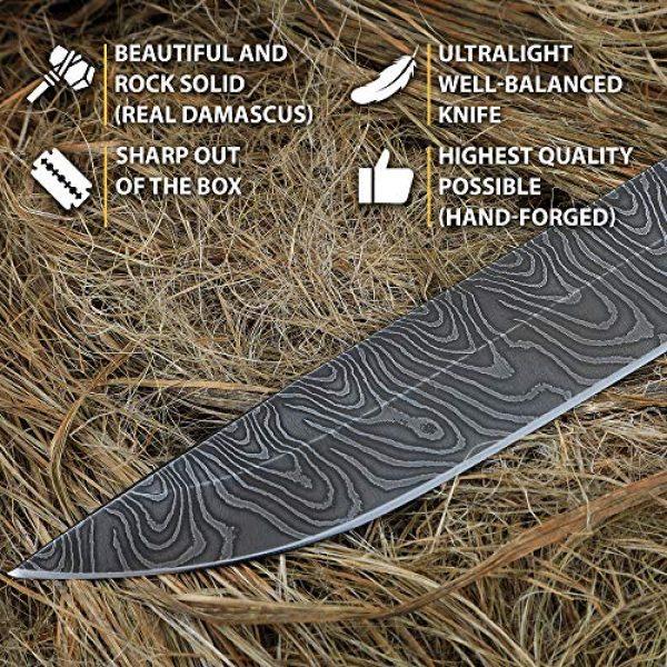 Nazarov Knives Fixed Blade Survival Knife 2 Damascus Steel Knife - Fixed Blade Knives - Real Damascus Hunting Knife - Birchbark - INFANTRYMAN Standard Edition - Leather Sheath
