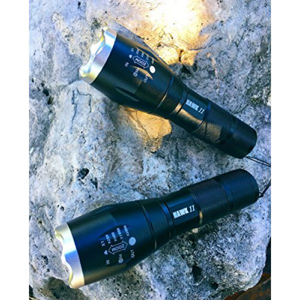 Hawk II Survival Flashlight 2 Hawk II - Two Tactical Emergency Flashlight- Hurricane preparedness - Water Resistant- 5 Light Modes Including SOS Emergency