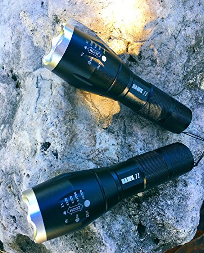 Hawk II  2 Hawk II - Two Tactical Emergency Flashlight- Hurricane preparedness - Water Resistant- 5 Light Modes Including SOS Emergency