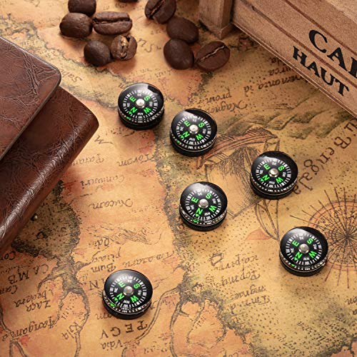 BBTO  5 200 Pieces Button Compass Mini Black Survival Compass Oil Filled Compass for Camping Hiking Boating Touring