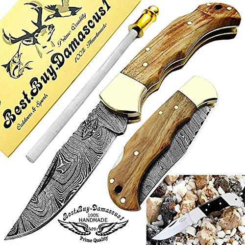 Best.Buy.Damascus1  7 Pocket Knife Olive Wood 6.5'' Damascus Steel Knife Brass Bloster Back Lock Folding Knife + Sharpening Rod Pocket Knives 100% Prime Quality+ Buffalo Horn Small Pocket Knife + Damascus Knife