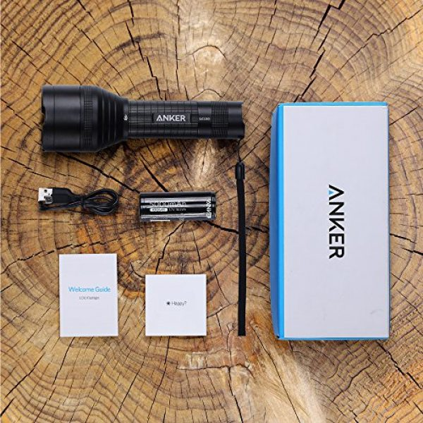 Anker Survival Flashlight 7 Anker Ultra-Bright Tactical Flashlight with 1300 Lumens, Rechargeable(26650 Battery Included), IPX7 Water-Resistant, Bolder LC130 LED with 5 Light Modes for Camping, Security, Emergency Use