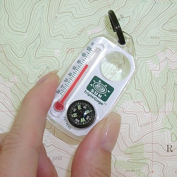 Sun Company Survival Compass 2 Sun Company TripleGage - Zipper Pull Compass, Thermometer, and Magnifying Glass