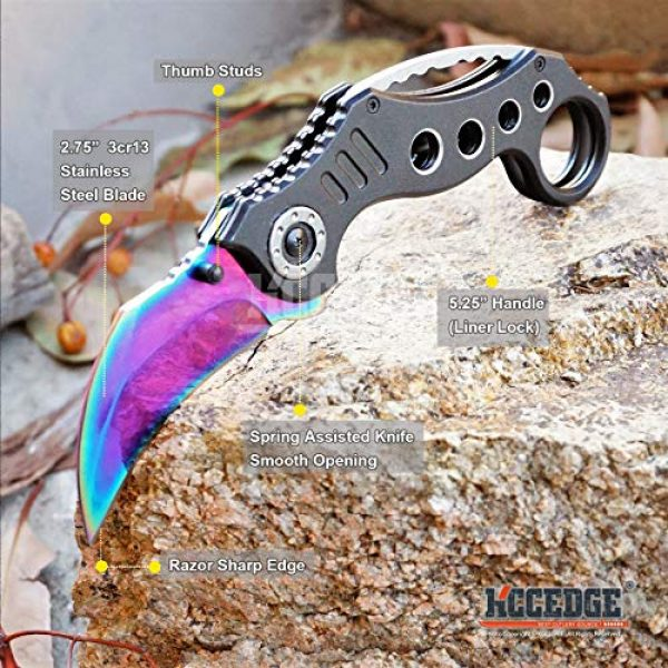 KCCEDGE BEST CUTLERY SOURCE Folding Survival Knife 2 KCCEDGE BEST CUTLERY SOURCE Pocket Knife Camping Accessories Survival Kit Razor Sharp Karambit Survival Folding Knife Camping Gear EDC 55310 (Rainbow)