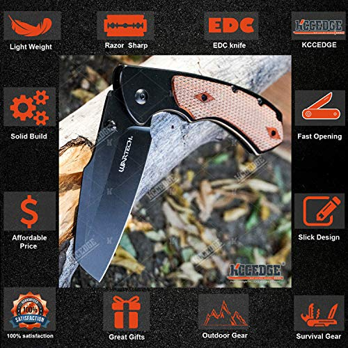 KCCEDGE BEST CUTLERY SOURCE  3 KCCEDGE BEST CUTLERY SOURCE Pocket Knife Camping Accessories Razor Sharp Edge Sheep's Foot Folding Knife Camping Gear EDC Survival Kit 58304