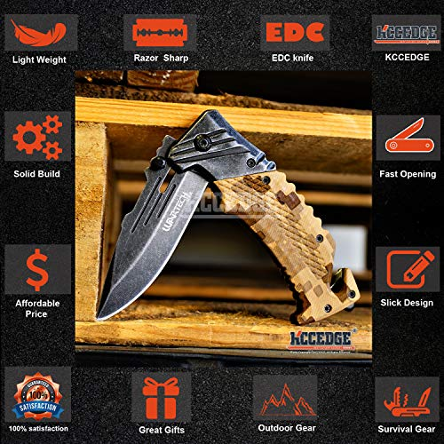 KCCEDGE BEST CUTLERY SOURCE  3 KCCEDGE BEST CUTLERY SOURCE Pocket Knife Camping Accessories Survival Kit Razor Sharp Edge Camouflage Folding Knife with Glass Breaker Cord Cutter Camping Gear 56843