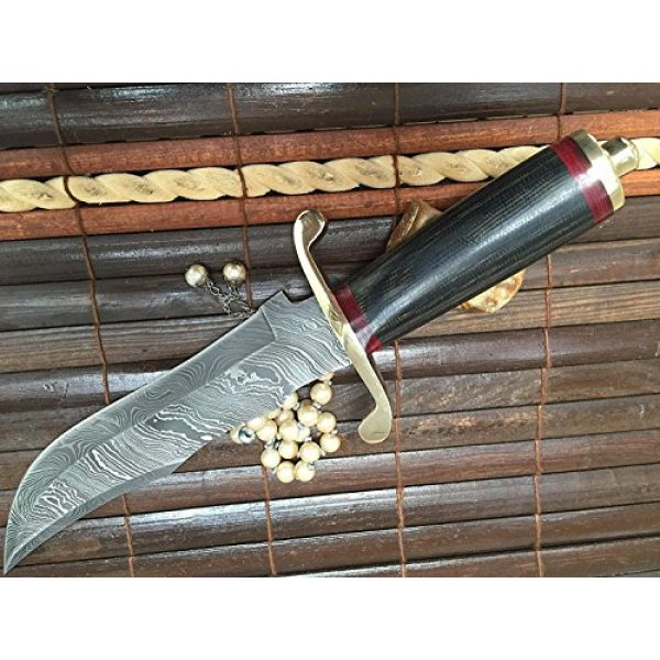 Perkin Fixed Blade Survival Knife 4 Perkin | 12 Inch Razor Sharp Fixed Blade Damascus Steel Bowie Knife | Full Tang Blade W/A High Grade Leather Sheat