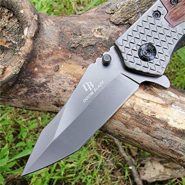 DOOM BLADE Folding Survival Knife 5 DOOM BLADE One Hand Opening Folding Pocket Knife SpeedSafe with Wood Handle - EDC Pocket Folding Knife with Safety Liner Lock for Camping Hunting Survival and Outdoor