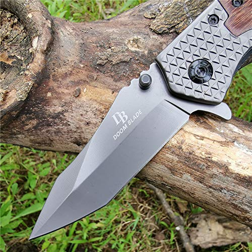 DOOM BLADE  5 DOOM BLADE One Hand Opening Folding Pocket Knife SpeedSafe with Wood Handle - EDC Pocket Folding Knife with Safety Liner Lock for Camping Hunting Survival and Outdoor