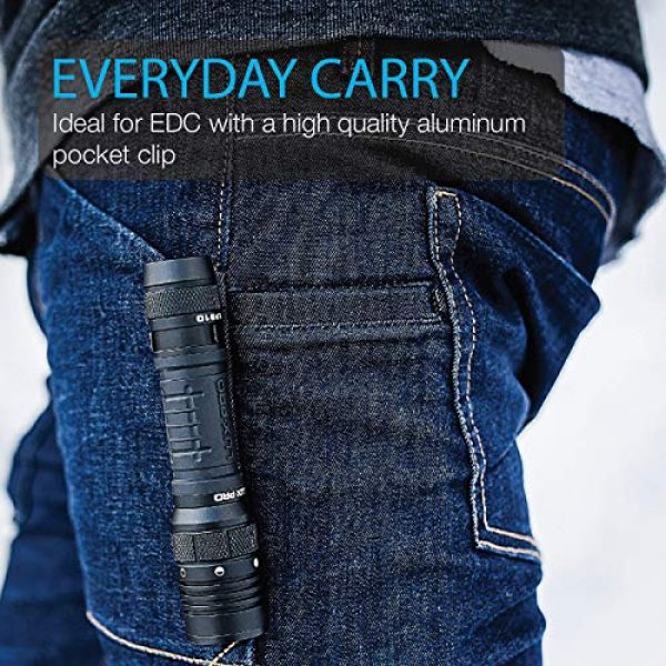 LUX PRO Survival Flashlight 6 LUXPRO XP910 Tactical Compact Rechargeable 1000 Lumen Flashlight - 18650 Battery