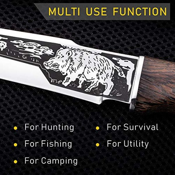 Grand Way Fixed Blade Survival Knife 5 Hunting Knife - Survival Knives with Sheath - Engraved Fixed Blade Knife - Hunter Bushcraft Bowie Knofe - Classic Long Blade Knifes with Wood Handle for Men - Best for Hunting Camping Defense 2428