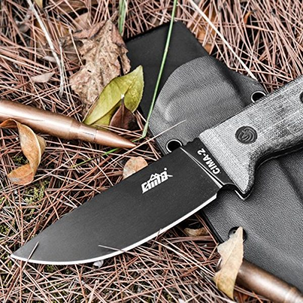 CIMA Fixed Blade Survival Knife 2 CIMA -2 Full Tang D2 Fixed Blade Hunting Camping Knife with Micarta Handle/K Sheath