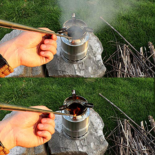 PSKOOK  6 PSKOOK 2 Size Pack Pocket-Size Fire Bellows Collapsible Stainless Steel Fire Blower Pipe Builds Campfire Tool with Poly Carrying Bag (2 Size)