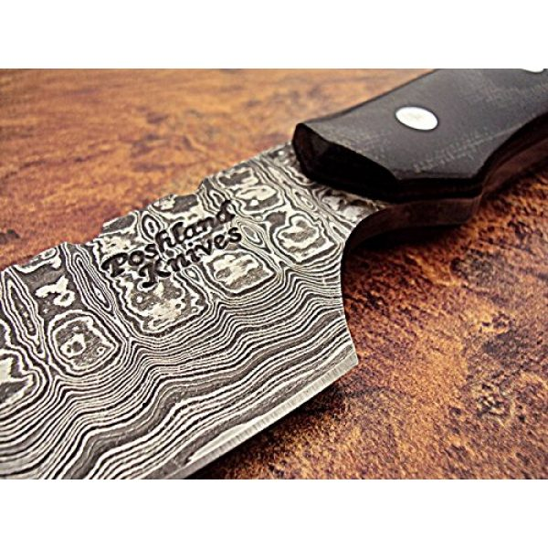 Poshland Fixed Blade Survival Knife 3 Poshland SK-395, Custom Handmade Full Tang Damascus Steel Skinner Knife - Beautiful Black Brown Canvas Micarta Handle