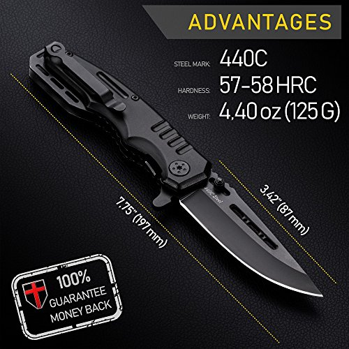 Grand Way  2 Spring Assisted Knife - Pocket Folding Knife - Military Style - Boy Scouts Knife - Tactical Knife - Good for Camping Hunting Survival Indoor and Outdoor Activities Mens Gift 6681