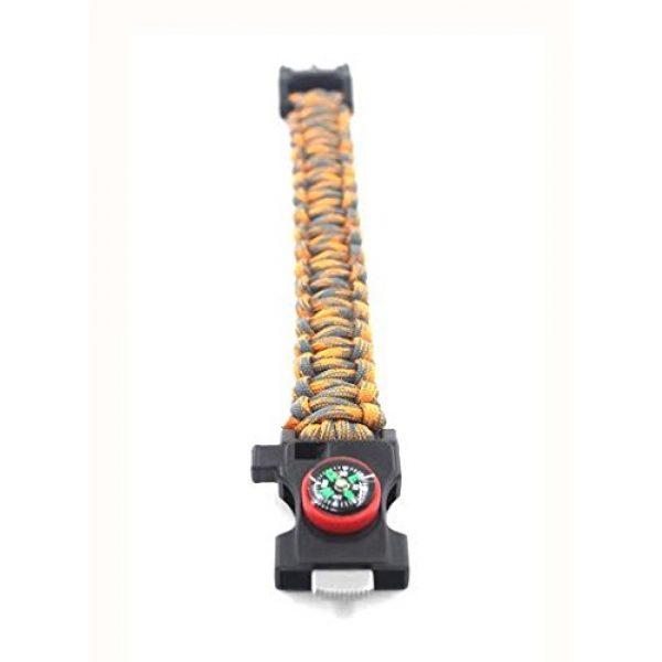 "Core Survival Survival Bracelet 7 Core Survival Paracord Survival Bracelet - Hiking Multi Tool, Emergency Whistle, Compass for Hiking, Camp Fire Starter 5-in1 Set (Orange/Grey, 10.5"" Large)"