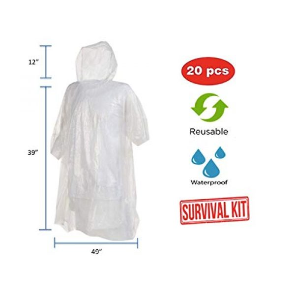 Noe&Malu Poncho 2 Noe&Malu Disposable Emergency Clear Rain Poncho for Adults - 20 Pack