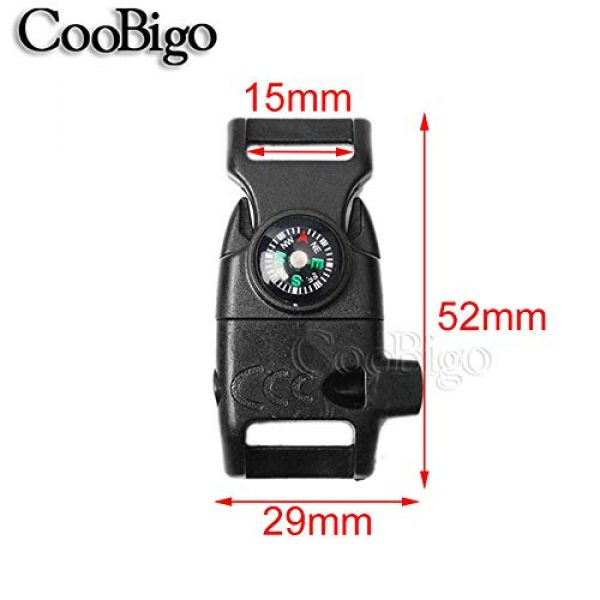 "CooBigo Survival Kit 3 10pcs Pack Black 5/8"" Compass Flint Scraper Fire Starter Whistle Buckle Plastic Paracord Bracelet Outdoor Camping Emergency Survival Travel Kits #FLC158-FWC(Black)"