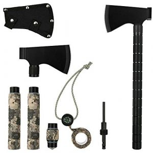 iunio Survival Kit 1 iunio Camping Axe, Hatchet with Sheath, Multi-Tool, Camp Ax, Survival Gear, Folding Portable Tools, for Hiking, Backpacking, Emergency, Hunting, Outdoor (Black)