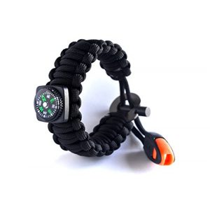 Right Sport Survival Bracelet 1 Right Sport Backpacking/Camping/Hiking Bracelet Emergency 550 Paracord Band Includes 18 Pieces of Survival Gear - Whistle, Compass, Bottle Opener, Fire Starter, Knife and More in Kit
