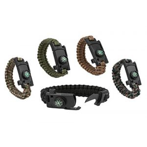 Kissmi Survival Bracelet 1 Paracord Bracelet Survial Kit 500 LB - Emergency Tactical Parachute Rope Bracelet with Compass, Flint Stone, Knife, Whistle,for Outdoor Hiking Travelling Camping Gear -(Set of 5)