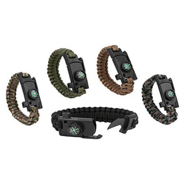 Kissmi Survival Bracelet 1 Paracord Bracelet Survial Kit 500 LB - Emergency Tactical Parachute Rope Bracelet with Compass, Flint Stone, Knife, Whistle,for Outdoor Hiking Travelling Camping Gear -(Set of 5)