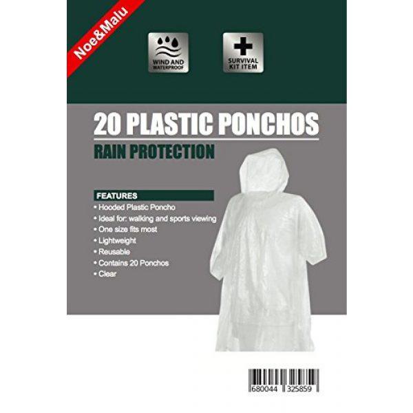 Noe&Malu Poncho 3 Noe&Malu Disposable Emergency Clear Rain Poncho for Adults - 20 Pack