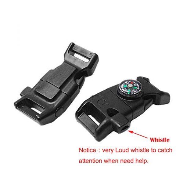 "CooBigo Survival Kit 4 10pcs Pack Black 5/8"" Compass Flint Scraper Fire Starter Whistle Buckle Plastic Paracord Bracelet Outdoor Camping Emergency Survival Travel Kits #FLC158-FWC(Black)"
