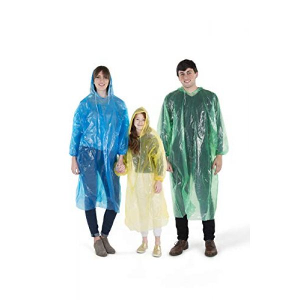 Banana Basics Poncho 5 Banana Basics Extra Thick .03 mm Disposable Rain Ponchos (12-Count Family Pack) 6 Adult, 6 Child Sizes   Travel, Sports, Hiking, Outdoor Emergency Use   100% Waterproof   Compact, Portable  
