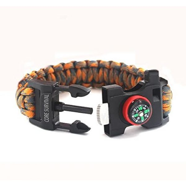 "Core Survival Survival Bracelet 4 Core Survival Paracord Survival Bracelet - Hiking Multi Tool, Emergency Whistle, Compass for Hiking, Camp Fire Starter 5-in1 Set (Orange/Grey, 10.5"" Large)"