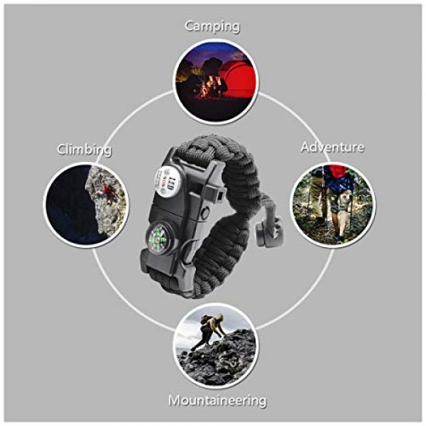 LeMotech Survival Kit 7 LeMotech 20 in 1 Adjustable Paracord Survival Bracelet, Tactical Emergency Gear Kit Includes SOS LED Flashlight, Compass, Rescue Whistle and Fire Starter-Outdoor Hiking Camping