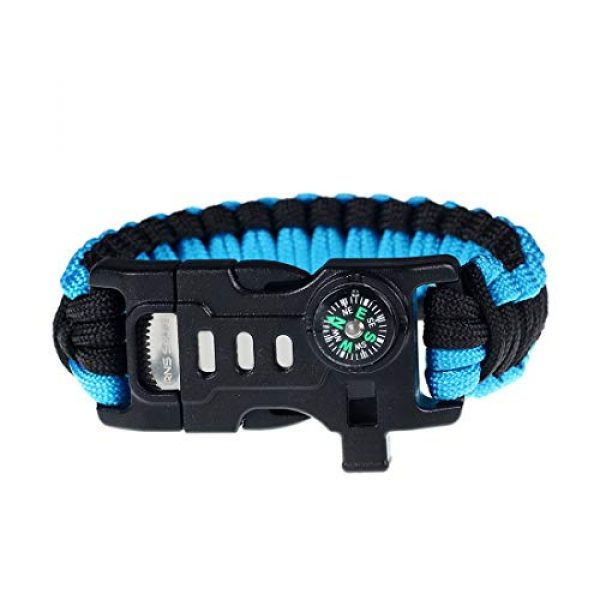 RNS STAR Survival Bracelet 5 RNS STAR Paracord Survival Bracelet with Paracord Rope, 5-in-1 Tactical Bracelet Fire Starter, Compass, Emergency Whistle & Small Knife for Hiking Traveling Camping Gear Kit
