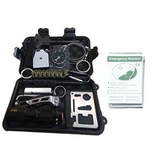 MackMo Products Survival Kit 1 MackMo Products Ultimate 13-in-1 Emergency Kit: Outdoor Survival Kit w/Pocket Knife Emergency Blanket, Flashlight, Compass, Knife in Waterproof Case| Travel Camping Car Survival Gear