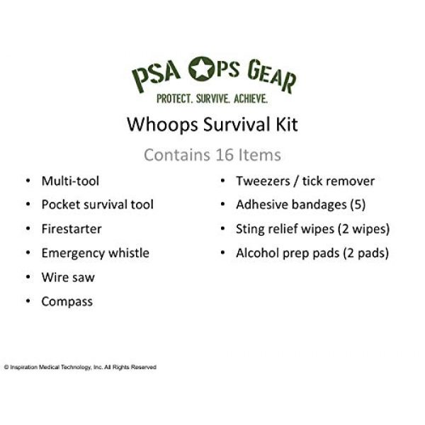PSA Ops Gear Survival Kit 2 PSA Ops Gear Whoops Kit - Survival Kit with Multi-Tool, First Aid, and Much More (EDC Every Day Carry Kit)