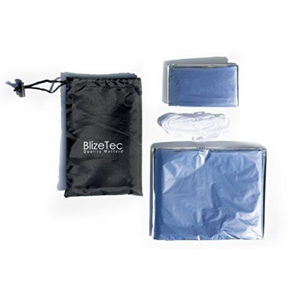 BlizeTec Quality Matters! Survival Shelter 2 BlizeTec Emergency Bivy Sack Mylar Thermal Survival Blanket and Tube Tent with Mini Carry Bag