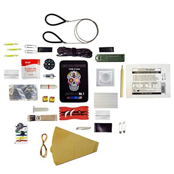 Limitless Equipment Survival Kit 2 Limitless Equipment Mark 1 Survival Kit: UK Made, Pocket Size, pro Level Gear. 40+ Items inc. Emergency LED, Fishing kit, fire Making, firecord and More