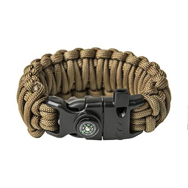 Grand Way Survival Bracelet 2 Grand Way Paracord Bracelet kit - Outdoor Survival Bracelet with Compass, Whistle, fire Starter and Scraper - Coyote Brown Tactical Paracord Bracelet - Double Cobra Paracord Bracelet