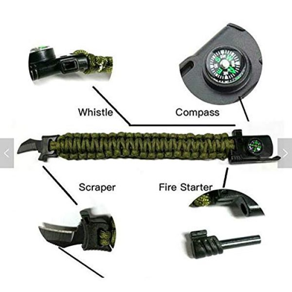 Kissmi Survival Bracelet 3 Paracord Bracelet Survial Kit 500 LB - Emergency Tactical Parachute Rope Bracelet with Compass, Flint Stone, Knife, Whistle,for Outdoor Hiking Travelling Camping Gear -(Set of 5)