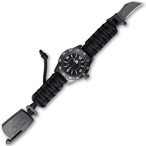 Outdoor Edge Survival Watch 3 Outdoor Edge Zinc ParaClaw CQD Survival Watch with Black Heavy Duty Paracord Bracelet, 1.5 Inch Knife Blade