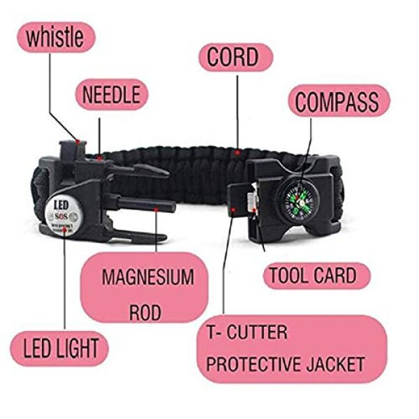 GOCTOS Survival Bracelet 6 GOCTOS Survival Bracelet Military Buckle Tool Adjustable Rope Accessories Kit, Fire Starter, Knife, Compass, LED Light,Whistle,for Fishing Hiking Travel Camp Survival kit