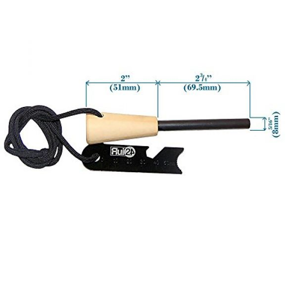 """Rui24 Fire Starter 4 Rui24 Emergency Fire Starter with Wooden Handle, ½ or 5/16"""" Size, Thick Bushcrafts Ferro Rod, Flint, fire Light, fire kit and 6 in one Camping and Survival Multitool. 12,000 to 20,000 Strikes."""