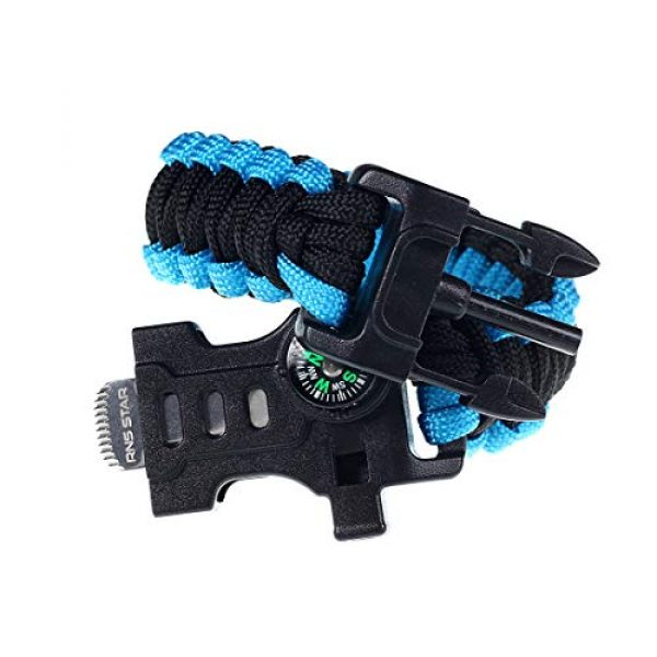 RNS STAR Survival Bracelet 6 RNS STAR Paracord Survival Bracelet with Paracord Rope, 5-in-1 Tactical Bracelet Fire Starter, Compass, Emergency Whistle & Small Knife for Hiking Traveling Camping Gear Kit